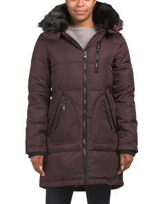 Parka Puffer With Faux Fur Hood