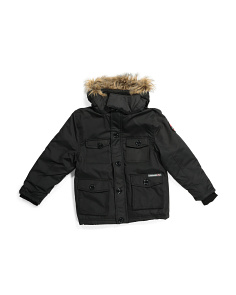Big Boys Parka With Faux Fur Trim Hood