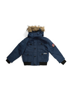 Little Boys Bomber Jacket With Faux Fur Hood
