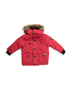 Little Boys Parka With Faux Fur Trim Hood