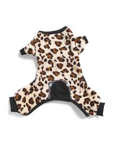 Leopard Fleece Onesie Dog Pajamas
