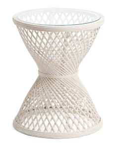 Rattan Accent Table With Glass Top
