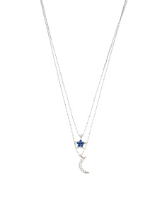 Made In Italy Sterling Silver Cz Star Moon 2 Row Necklace
