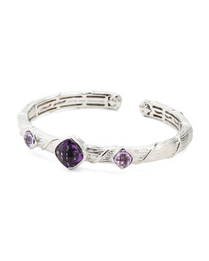 Sterling Silver 3 Stone Gemstone Hinged Cuff Bracelet