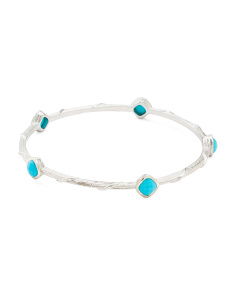 Sterling Silver And Gemstone Station Bangle Bracelet