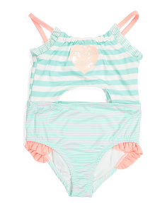 Little Girls Sequin Cut Out Swimsuit