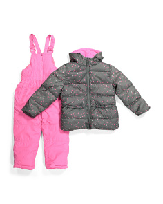 Little Girls Foil Heart Snowsuit With Full Bib