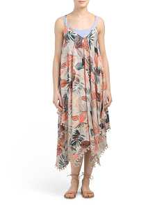 Palm Print Hanky Hem Cover-up Dress
