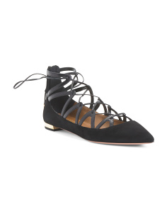 Made In Italy Suede Lace Up Flats