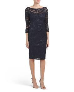 Lace Sequin Midi Dress