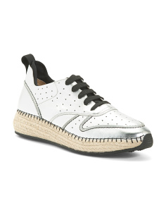 Made In Italy Leather Espadrille Sneakers