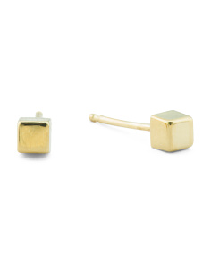 Made In Spain 14k Gold 3mm Chubby Cube Stud Earrings