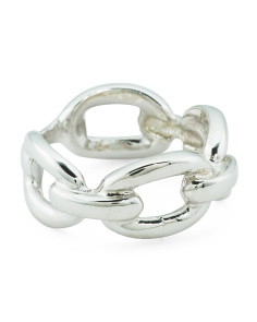 Made In Italy Sterling Silver Oval Link Ring