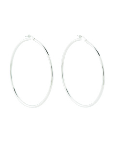 Made In Italy 18k White Gold Polished 50mm Hoop Earrings