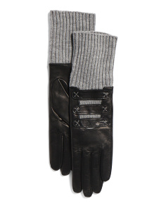 Made In Italy Contrast Stitch Leather And Wool Gloves