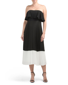 Pleated Popover Midi Dress