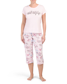 Cotton Blend Bon Voyage Capri Pj Set