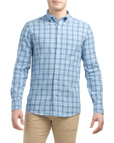 Long Sleeve Ocean Point Linen Cotton Plaid Sport Shirt