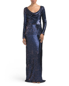 Long Sleeve Cowl Neck Sequin Gown