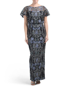 Embroidered Flutter Sleeve Illusion Gown