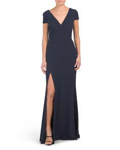 Karla Plunging Cap Sleeve Crepe Gown