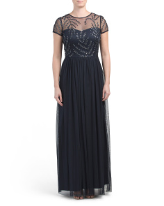 Short Sleeve Beaded Illusion Chiffon Gown