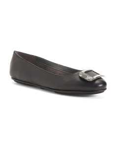 Comfort Leather Tortoise Buckle Flats