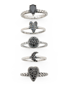 Black Spinel Stackable Ring Collection