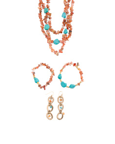 Handmade In USA Carnelian And Turquoise Collection