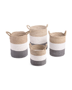 Color Block Seagrass Storage Basket Collection