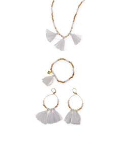 White Crystal And Cotton Tassel Bahati Collection