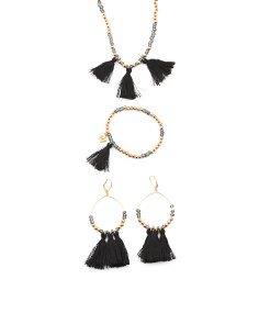 Crystal And Cotton Black Tassel Bahati Collection