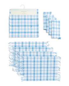 Mia Plaid Fringe And Tassels Table Linen Collection