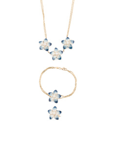 Made In Italy 14k Gold Blue And White Enamel Flower Collection