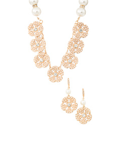 Gold Crystal And Pearl Flower Bridal Collection