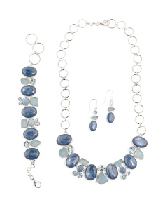 Handcrafted In India Sterling Silver Kyanite And Blue Topaz Collection