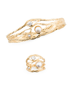 Made In Israel 14k Gold Plated Sterling Silver Pearl And Cz Collection