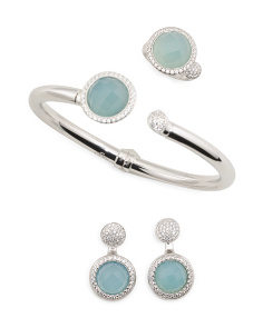 Made In Italy Plated Sterling Silver Light Blue Agate Collection