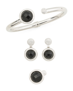 Made In Italy Platinum Plated 950 Sterling Silver And Onyx Collection