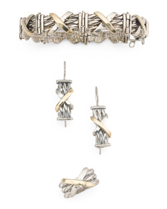 Made In Israel Sterling Silver And 14k Gold X Collection