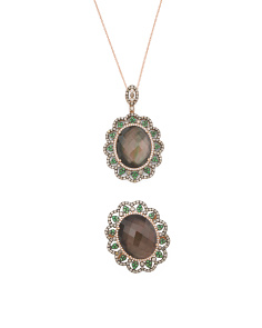 14k Rose Gold Smoky Quartz Tsavorite And  Diamond Oval Collection
