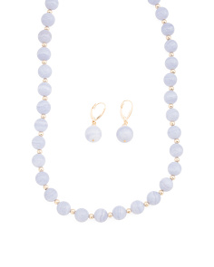14k Gold Bead And Blue Lace Agate Collection