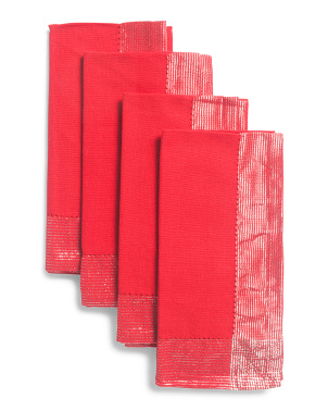 Set Of 4 Elina Wide Hemstitch Napkins