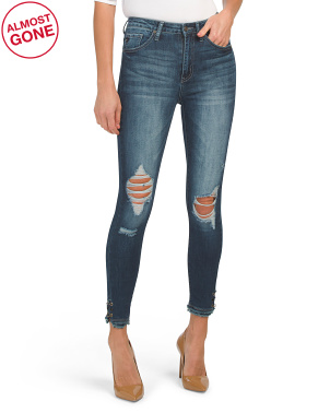 Juniors High Rise Destructed Dark Wash Jeans