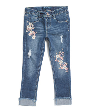 Little Girls Cherry Blossom Embroidered Cuffed Jeans