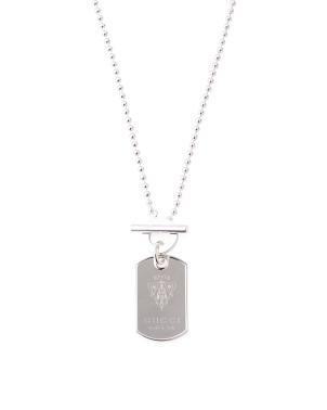 Men's Made In Italy Sterling Silver Crest Dog Tag Necklace