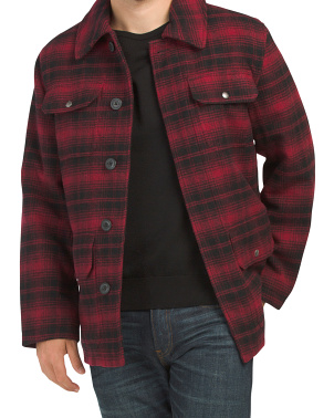 Plaid Wool Blend Classic Hunting Jacket With Sherpa