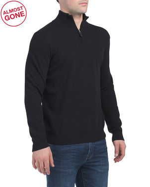 Made In Italy Cashmere Quarter Zip Sweater