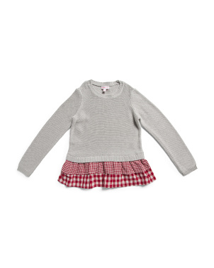 Big Girls Gingham Twofer Sweater