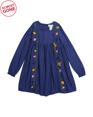 Girls Long Sleeve Tassel Trim Dress